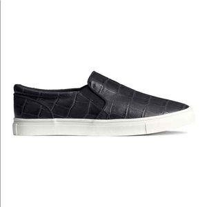 H&M Black Slip On Sneakers Embossed Croc 38